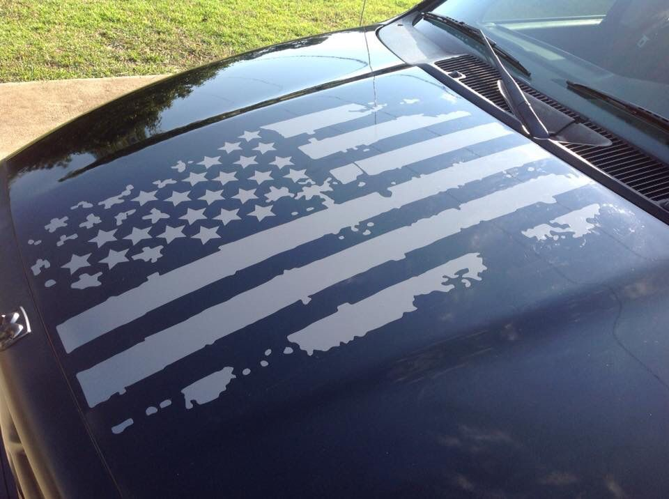 Distressed Flag Hood Graphics