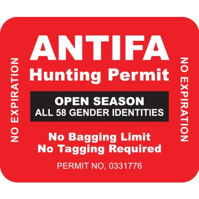 ANTIFA Hunting Permit Vehicle Decal
