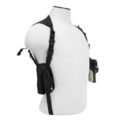 Ambidextrous Horizontal Shoulder Holster/Double Magazine Holder/Black