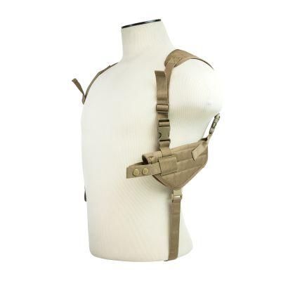 Ambidextrous Horizontal Shoulder Holster/Double Magazine Holder/Tan