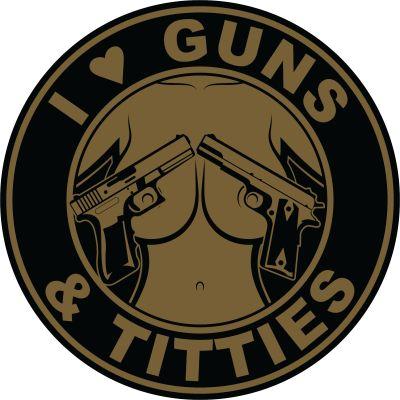 I Love Guns and Titties Sticker | Black and Tan