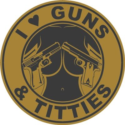 I Love Guns and Titties Sticker | Tan and Black