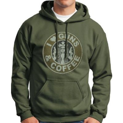 I Love Guns and Coffee Hoodie - Military Green