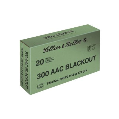Sellier & Bellot, 300 Blackout, 124 Grain, FMJ, 20 Round Box