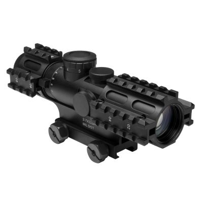 Tri-Rail Series 2-7X32 Compact Scope/3 Rail Sighting System/Blue Ill. Mil-Dot/Green/Weaver Mount