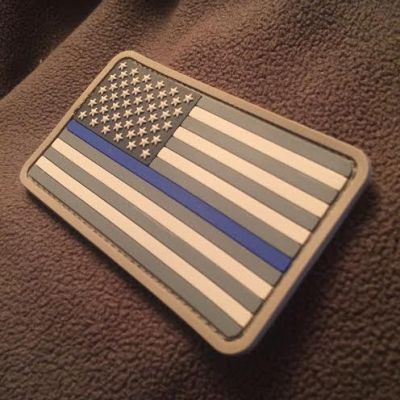 Thin Blue Line American Flag PVC