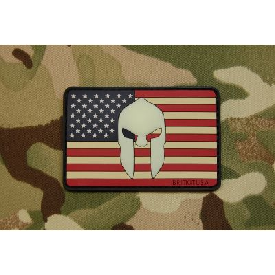 US Spartan Helmet Flag 3D PVC GITD Morale Patch-Color