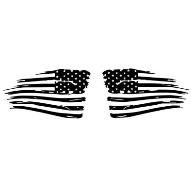 Distressed American Flag Wave Vehicle Decal Pair